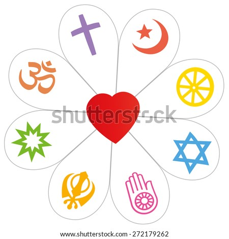 Religion Symbols That Form Flower Heart Stock Vector Royalty Free