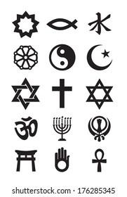 Religion symbols. Vector format