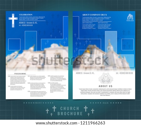 religion two sided brochure flyer template stock vector royalty