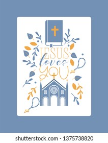Religion vector catholic church or cathedral and religious sings of christianity illustration backdrop of christian cross bible with sign Jesus love you background.