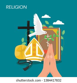 Religion vector flat style design illustration. Holy Bible, dove, praying hands, christian catholic miter, cross, holy rosary beads. Christianity, religious christian symbols for web banner, webpage.