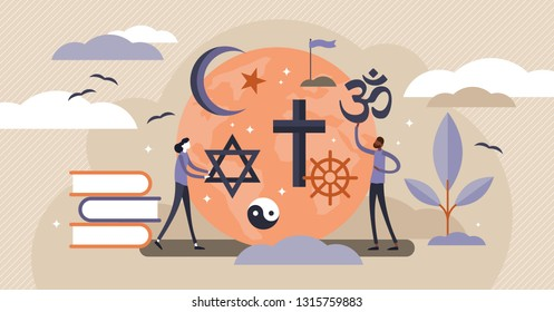 Religion vector illustration. Flat tiny symbolic element collection set persons concept. Theology study and knowledge about christianity, islam and muslim ethnic heritage. Global mythology education.