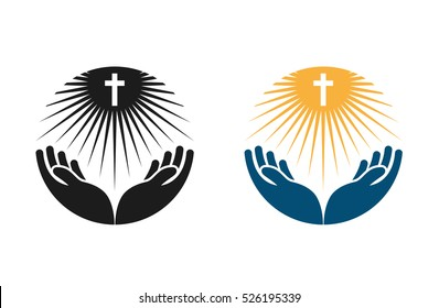 Religion vector logo. Church, Pray or Bible icon