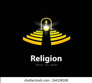 religion vector logo design template. church service or church icon.