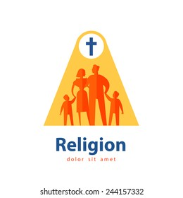 religion vector logo design template. people or family icon.