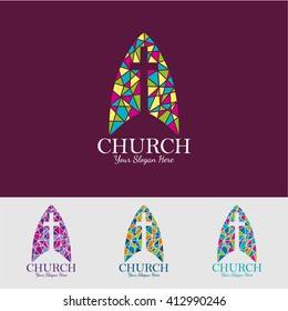 religion vector logo design template. crucifixion or Church icon.