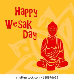 Religion. Vesak day celebration. Colorful unique design for greeting card, invitation, web, banner, poster, ticket, flyer, template, booklet, leaflet, brochure.