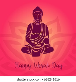 Religion. Vesak day celebration. Colorful unique design for greeting card, invitation, web, banner, poster, ticket, flyer, template, booklet, leaflet, brochure, felicitation.