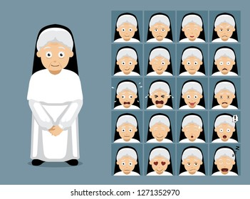 Religion White Nun Dress Cartoon Emotion Faces Vector Illustration