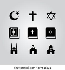 Religions icons set