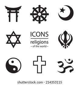 religions of the world.  Vector icons set