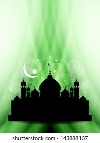 religious background design for ramadan and eid with beautiful mosque and green waves. vector illustration