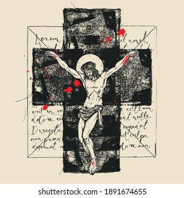 Religious banner with crucified Jesus Christ, abstract black cross and red drops on the background of handwritten text Lorem ipsum. Abstract religion illustration with a crucifix in retro style