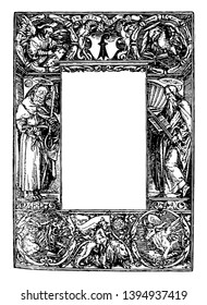 Religious Border has religious connotations with a bearded man on each side with a halo and an angel on the top left corner reading vintage line drawing or engraving illustration.