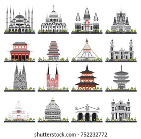 Religious Buildings Set Isolated on White Background. Vector Illustration. Mosque, Temple, Synagogue, Church.