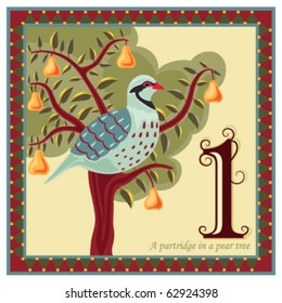 Religious card with The 12 Days of Christmas - 1-st day - A partridge in a pear tree.  Vector illustration saved as EPS AI 8, no effects, no gradients, easy print.