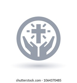 Religious Christian cross with hands of worship icon in circle outline. Faith of Christianity concept symbol. Church praise sign. Vector illustration.