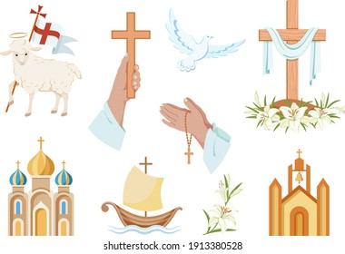 Religious christian signs and symbols. Set of colorful icons.  Church, hands holding  cross, dove with branch, fish and ship. Cross with shroud. Lamb is symbol of Christ's sacrifice. Isolated. Vector