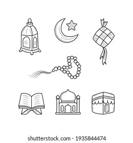 Religious collection Ramadan kareem. Accessory for happy day Ramadan kareem with hand drawn, doodle style