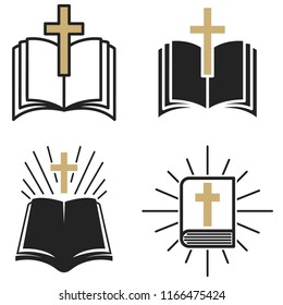 religious community. Set of Emblem with Holy Bible and cross. Design element for poster, logo, badge, sign. Vector illustration