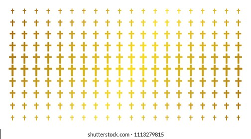 Religious cross icon golden halftone pattern. Vector religious cross items are organized into halftone matrix with inclined gold color gradient. Designed for backgrounds, covers,