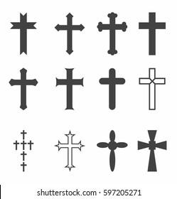 Religious crosses vector icon