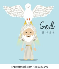 Religious design over blue background, vector illustration