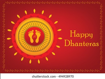 Religious Dhanteras festive card with designer border on red backgroud