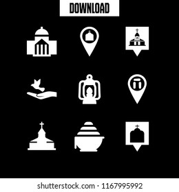 religious icon. 9 religious vector set. church, church sign, cathedral pin and church pin icons for web and design about religious theme