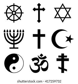 Religious icon set - christianity, islam, hinduism, buddhism, judaism