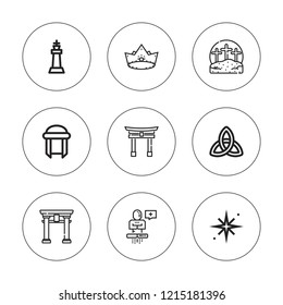 Religious icon set. collection of 9 outline religious icons with calvary, crown, holy star, king, transcendence, torii gate, turban icons. editable icons.