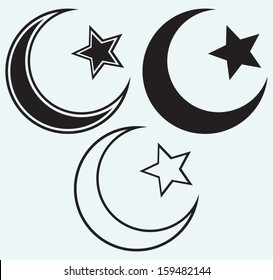 Religious Islamic Star and Crescent isolated on blue background