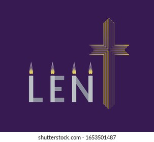Religious Lent flat vector background. Hand drawn Christian symbol concept. Sacrament biblical church cross cartoon. Catholic bible Holy week design element. Religion lenten sign template illustration