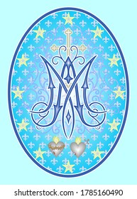 Religious medal of the Immaculate Conception, monogram M, the Cross, and symbols of two hearts, surrounded with twelve stars