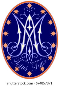 Religious medal with M monogram, the inscription Totus Tuus, surrounded by small stars, on a dark blue background