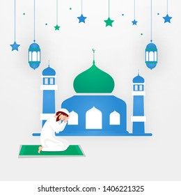 Religious Muslim man praying in front of mosque on white background for Eid Mubarak Celebration. Space for your text.