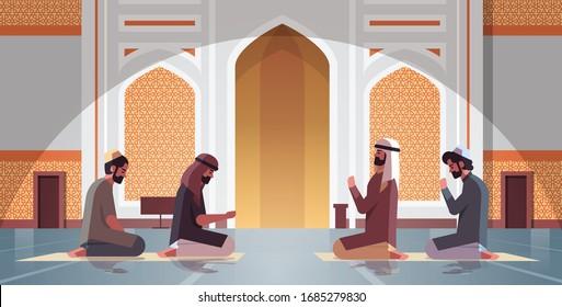 religious muslim men kneeling and praying inside nabawi mosque ramadan kareem holy month religion concept full length horizontal vector illustration
