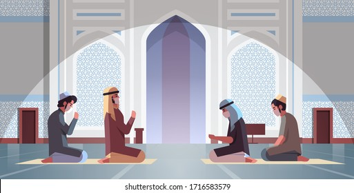 religious muslim men in masks praying ramadan kareem holy month religion coronavirus pandemic quarantine concept nabawi mosque building intrior full length horizontal vector illustration