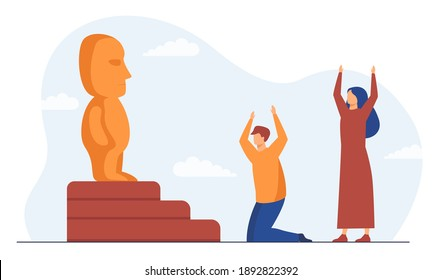 Religious people worshipping idol. Statue, holy table, cult. Flat vector illustration. Religion, culture, tradition concept for banner, website design or landing web page