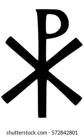Religious sign. Christianity. The Labarum or Chi Rho symbol. The first two letters of Christ, in Greek. Vector Format.