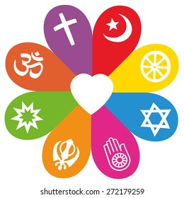 Religious signs on colored petals assembling around a heart as a symbol for colorful religious individuality or faith - Christianity, Islam, Buddhism, Judaism, Jainism, Sikhism, Bahai, Hinduism.