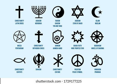 Religious Signs Set. Collection of Symbols of Various Religion and Faith Icons Isolated on Blue Background Vector Illustration. Islam, Christianity, Judaism and Others - Shutterstock ID 1729177225