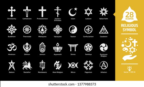 Religious symbol glyph icon set on a black background with christian cross, islam crescent and star, judaism star of david, buddhism wheel of dharma religion silhouette sign.