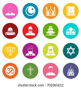 Religious symbol icons many colors set isolated on white for digital marketing