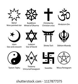 Religious symbols set. Religion signs simple black icon set.
