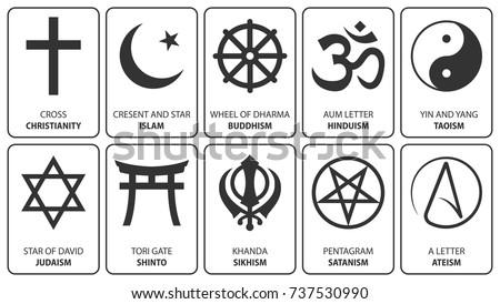 Religious Symbols Vector Christianity Cross Islam Stock Vector