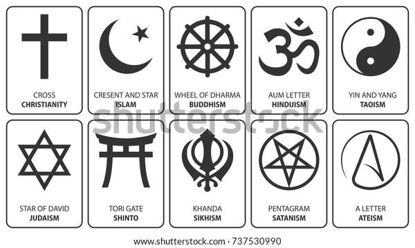 Religious symbols. Vector. Christianity cross, Islam crescent, Buddhism dharma wheel, Hinduism aum, Taoism yin yang, Judaism David star, Shinto tori gate, Sikhism Khanda, Satanism pentagram, Ateism.