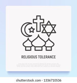 Religious tolerance thin line icon, interfaith respect. Modern vector illustration of peace and understanding between islam, christianity and judaism.