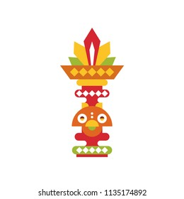 Religious totem pole, coloful ethnic tribal symbol vector Illustration on a white background