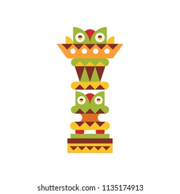 Religious totem pole, native cultural tribal symbol vector Illustration on a white background